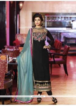 Girlish Black Embroidery Churidar Salwar Suit