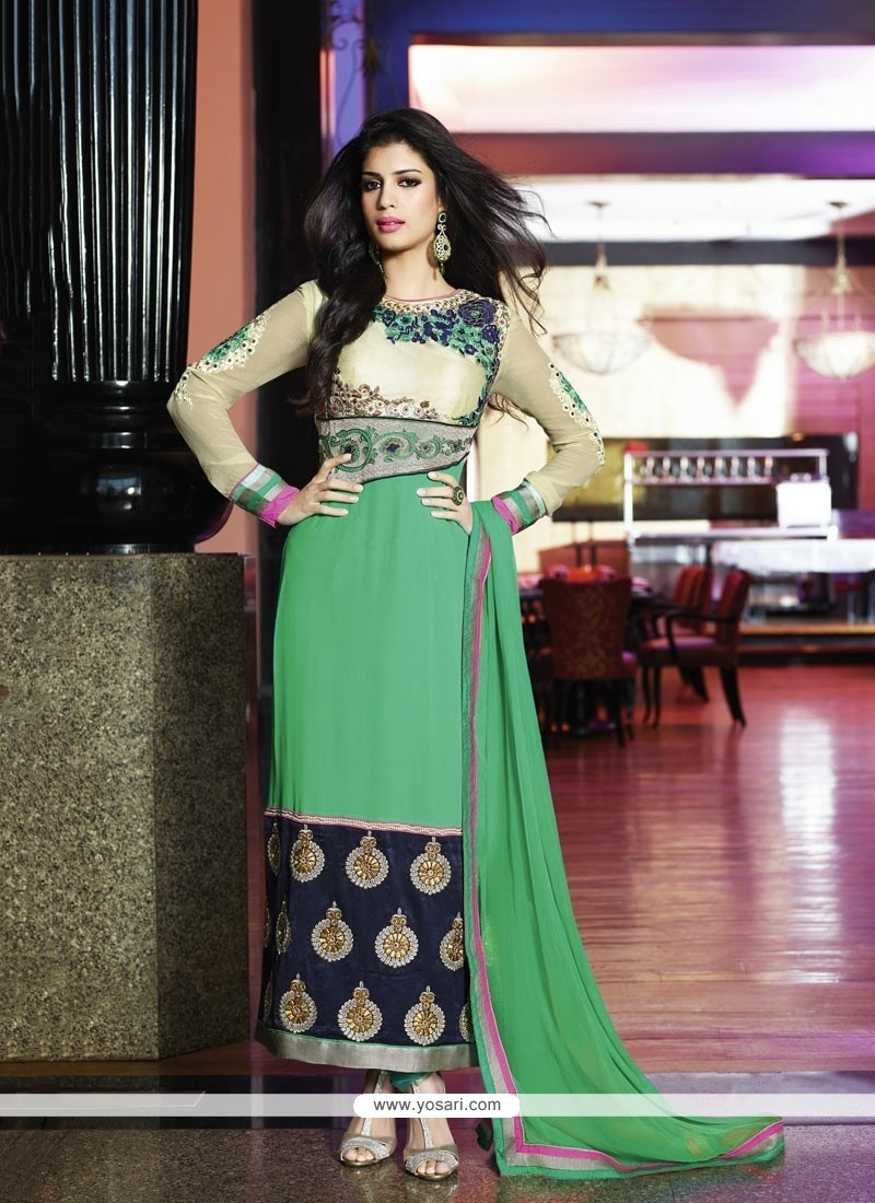 Sea Green Zari Churidar Salwar Kameez
