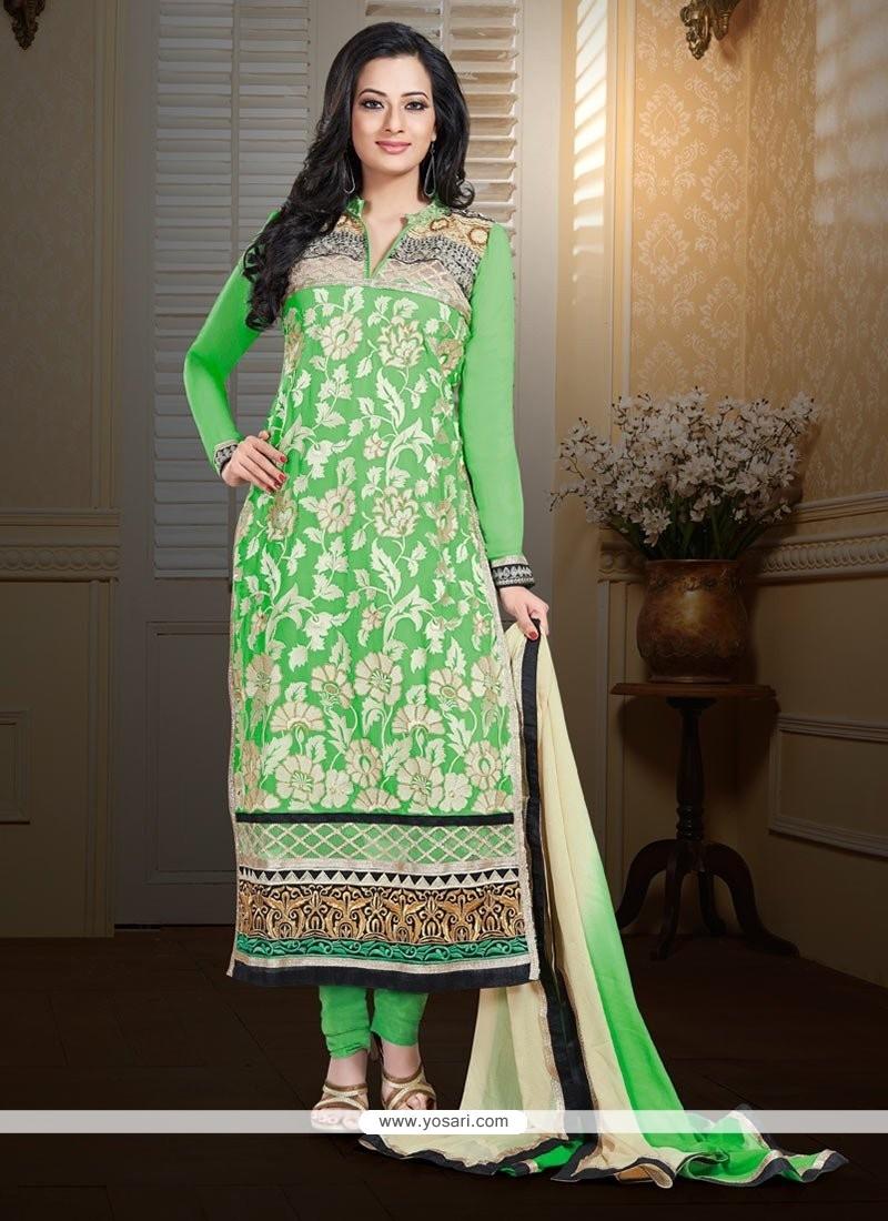Admirable Green Faux Georgette Churidar Suit