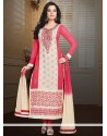 Beige And Pink Faux Georgette Churidar Suit
