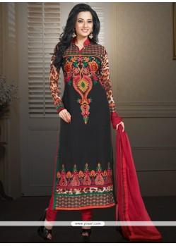 Marvelous Black Faux Georgette Churidar Suit