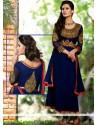 Royal Blue Georgette Resham Anarkali Salwar Suit