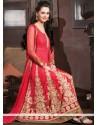 Deserving Red Net Zari Anarkali Suits