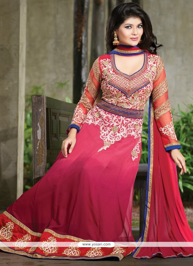 Wine And Pink Shaded Georgette Anarkali Salwar Suit