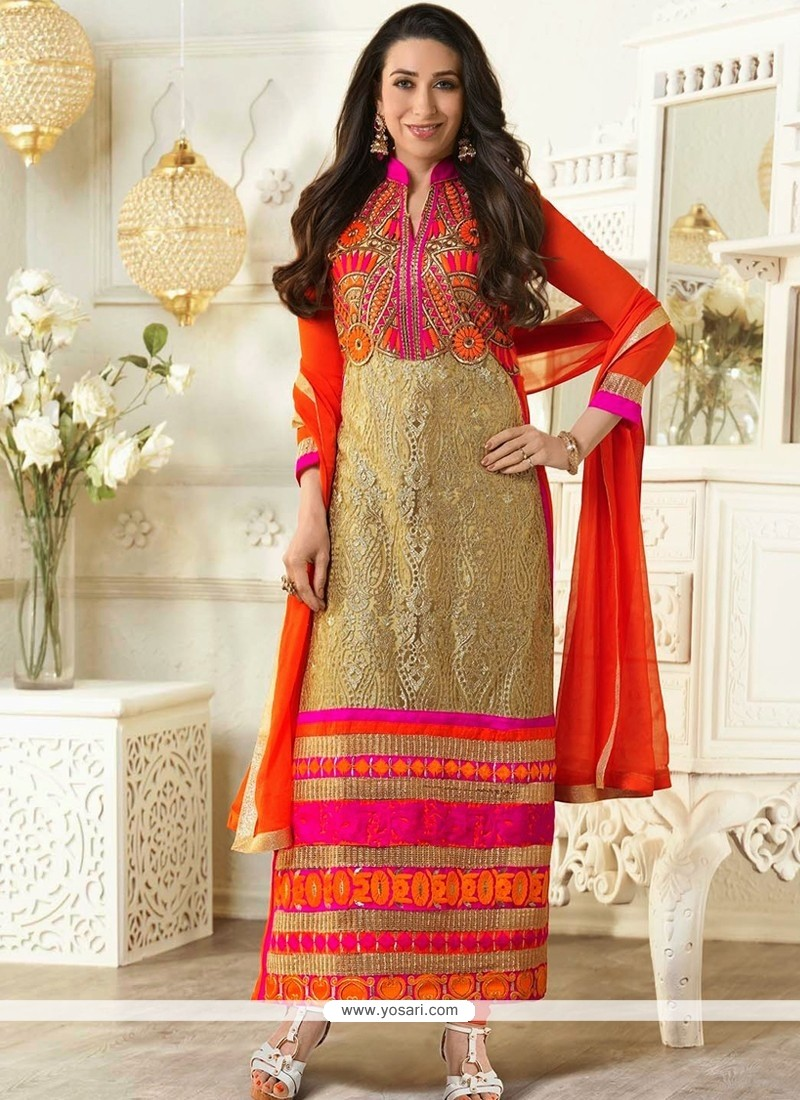 Karishma Kapoor Cream And Orange Embroidery Churidar Suit