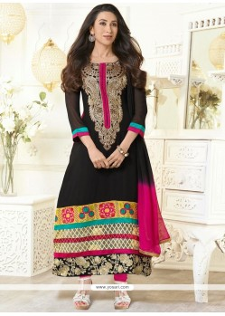 Karishma Kapoor Black Georgette Churidar Suit