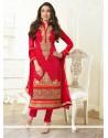 Karisham Kapoor Red Zari Work Churidar Salwar Suit