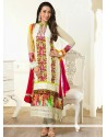 Karisham Kapoor Off White Resham Churidar Suit