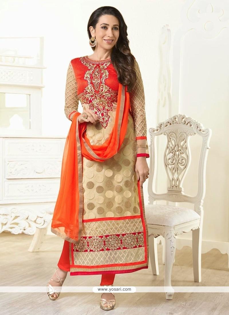 Karishma Kapoor Cream And Orange Georgette Churidar Suit