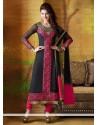 Delightful Black And Pink Georgette Churidar Salwar Kameez