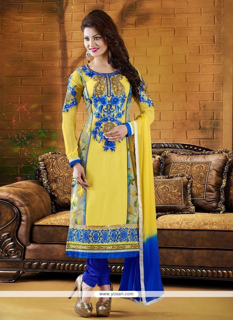 Charismatic Yellow And Blue Georgette Churidar Salwar Suit
