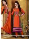 Baronial Orange Georgette Churidar Salwar Suit