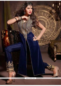 Lustrous Blue Velvet Churidar Suit