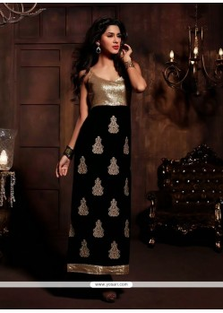 Glowing Black Velvet Churidar Salwar Kameez