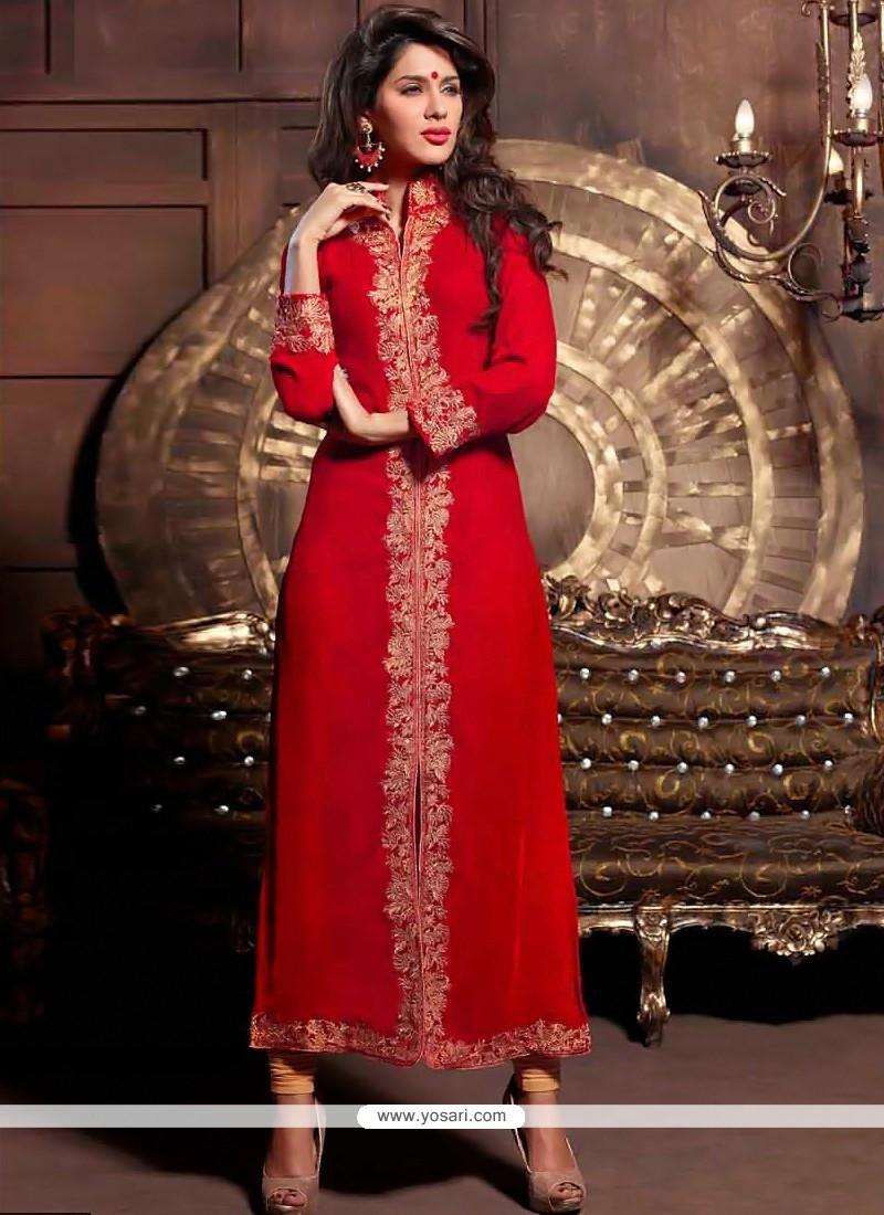 Radiant Red Zari Velvet Churidar Suit