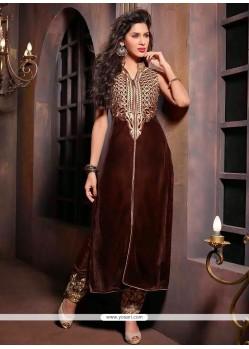 Modern Brown Velvet Embroidery Churidar Suit