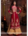 Magnificent Red And Cream Velvet Anarkali Suit