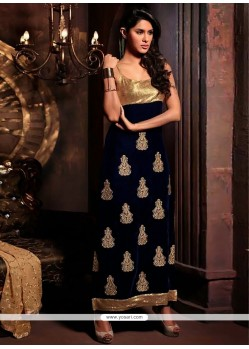 Magical Blue Zari Work Churidar Salwar Kameez