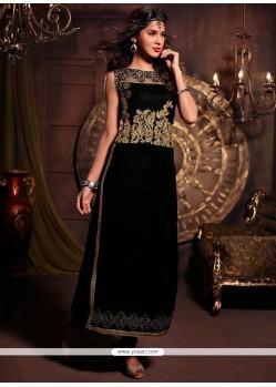 Lustrous Black Velvet Churidar Salwar Suit