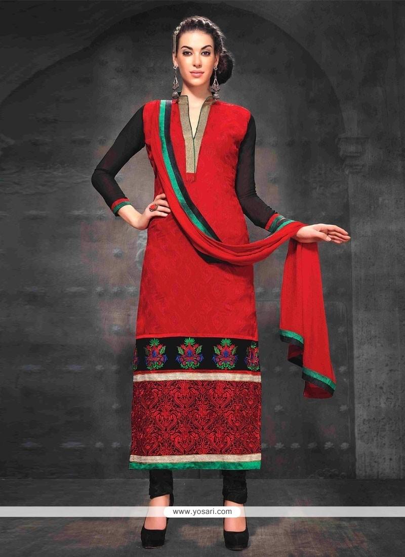 Delightful Red And Black Resham Churidar Suit