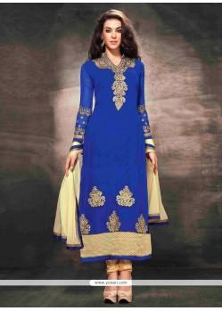 Competent Blue Georgette Churidar Salwar Kameez