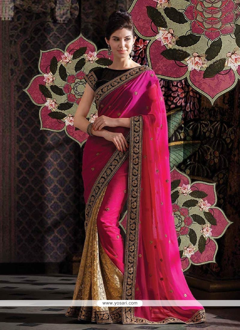 Incredible Pink And Beige Net Brasso And Faux Georgette Saree