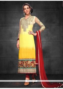 Opulent Yellow Embroidery Churidar Salwar Suit
