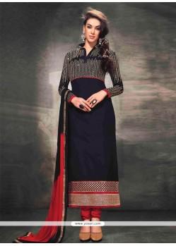 Markable Black Georgette Resham Churidar Suit