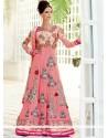 Glowing Pink Pure Georgette Anarkali Salwar Suit