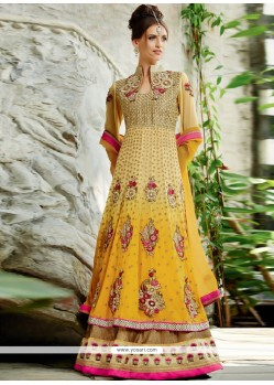 Cream And Yellow Shaded Pure Georgette Anarkali Suits