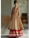 Genius Beige And Red Resham Anarkali Suits