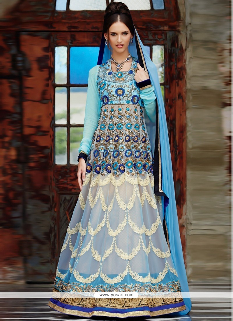 Fashionistic White And Blue Shaded Pure Georgette Anarkali Suits