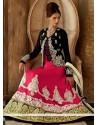 Hot Pink Silk Resham Anarkali Suits