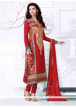 Radiant Red Georgette Churidar Suit