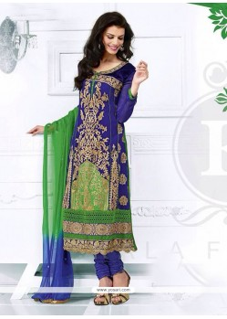 Blue And Green Zari Churidar Salwar Suit