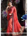 Groovy Red Shade Faux Chiffon And Net Saree