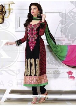 Perfect Black Zari Churidar Salwar Suit