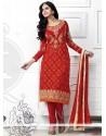 Observable Red Georgette Churidar Salwar Suit