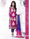 Magnificent Pink And Blue Georgette Churidar Salwar Kameez