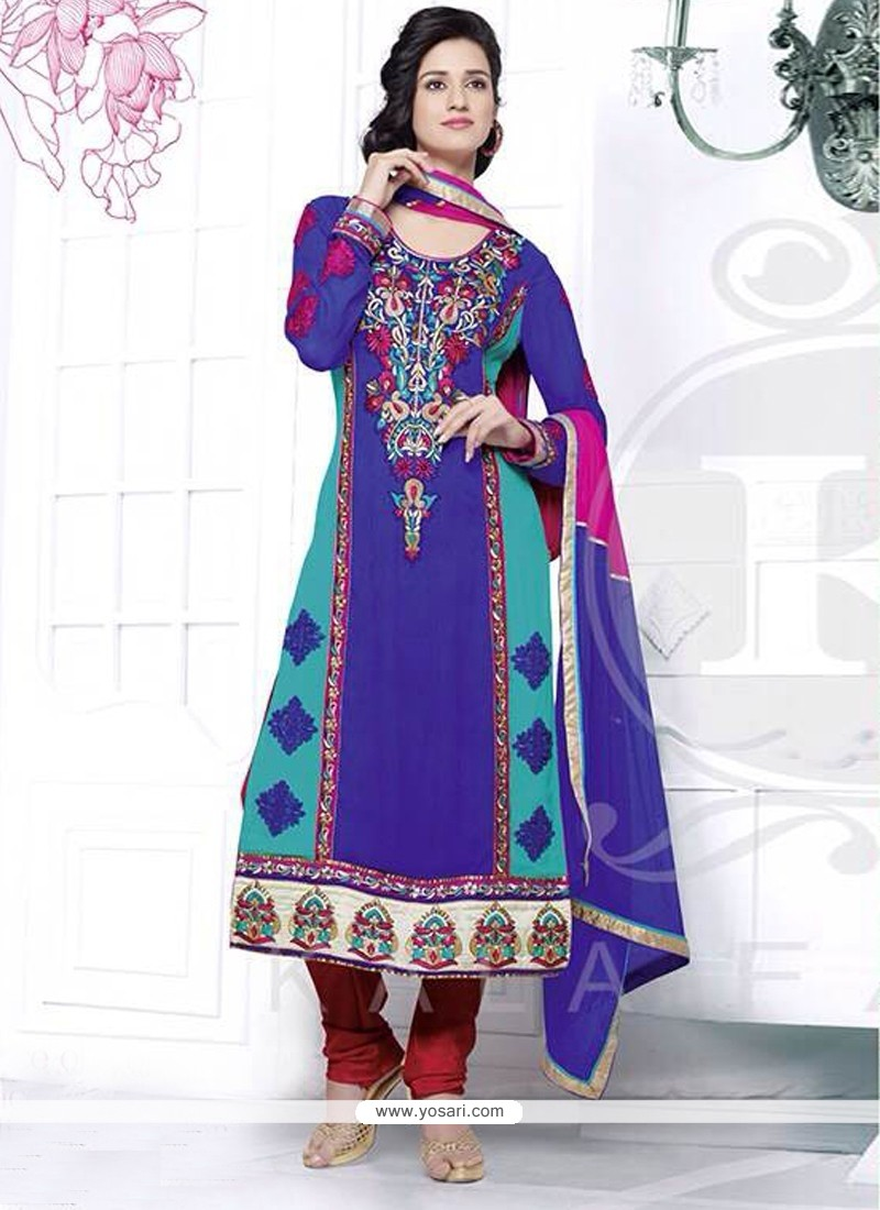 Magical Blue Resham Churidar Salwar Suit
