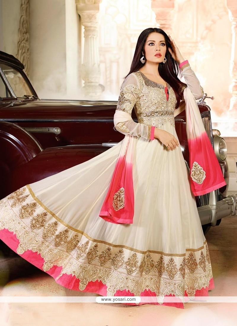 Celina Jaitly Cream Shaded Georgette Anarkali Suit