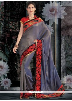 Mesmeric Blue Shade Shimmer Georgette Saree
