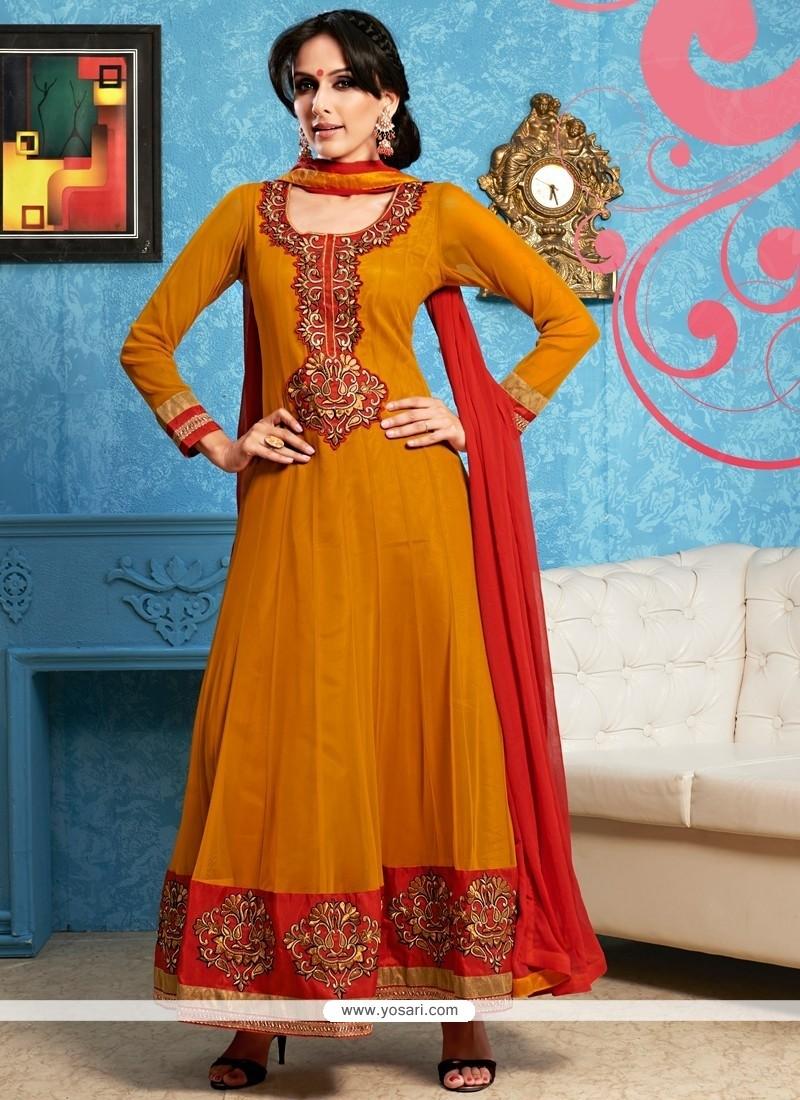 Competent Mustard Georgette Anarkali Salwar Kameez