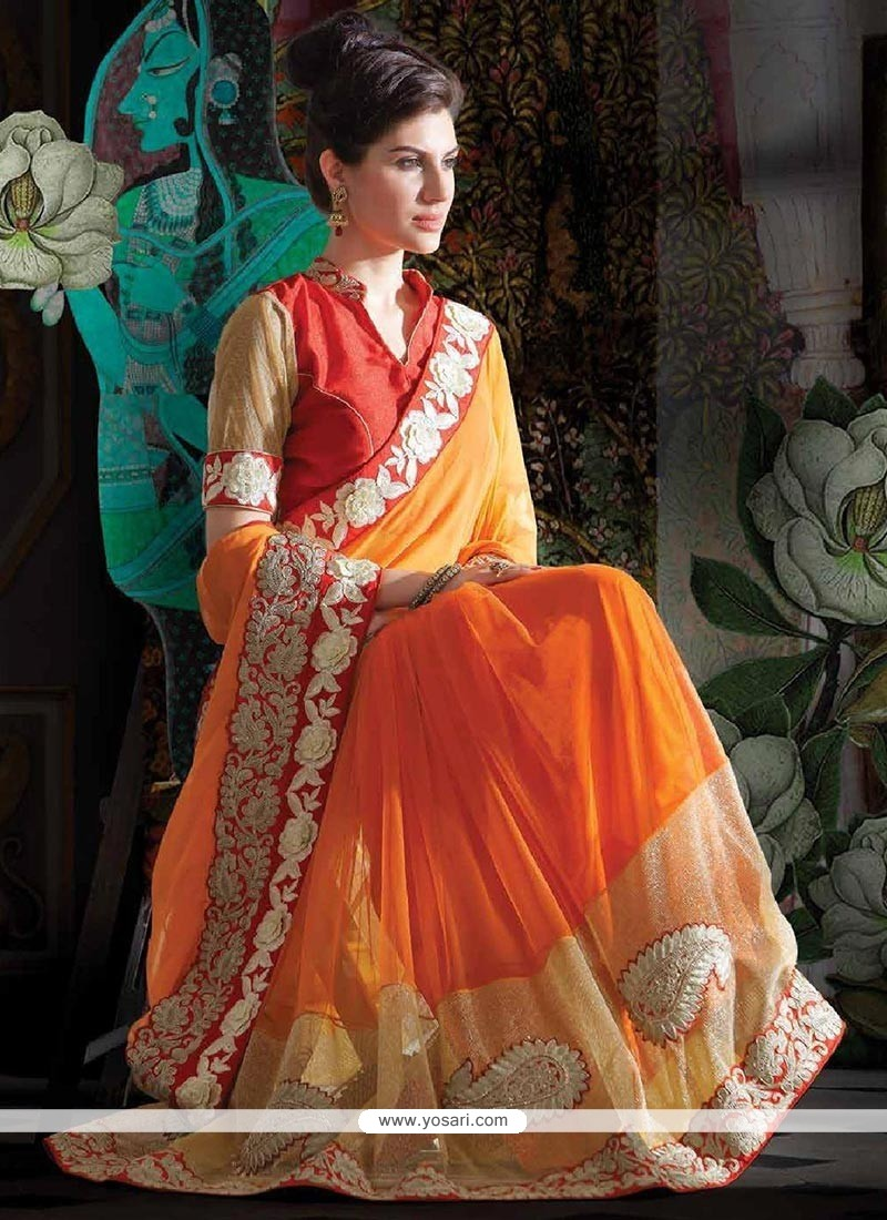 Magnificent Orange Shaded Faux Chiffon Saree