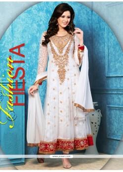 Beauteous White Net Anarkali Salwar Suit