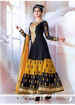 Black And Yellow Georgette Designer Anarkali Suits