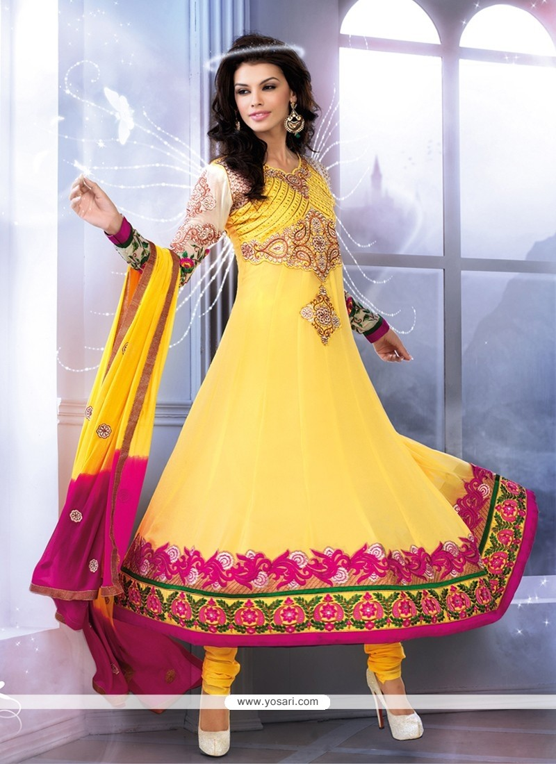 Epitome Yellow Georgette Anarkali Salwar Suit