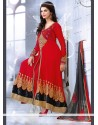Deserving Red Zari Work Anarkali Suits