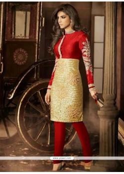 Priyanka Chopra Red And Golden Silk Churidar Suit