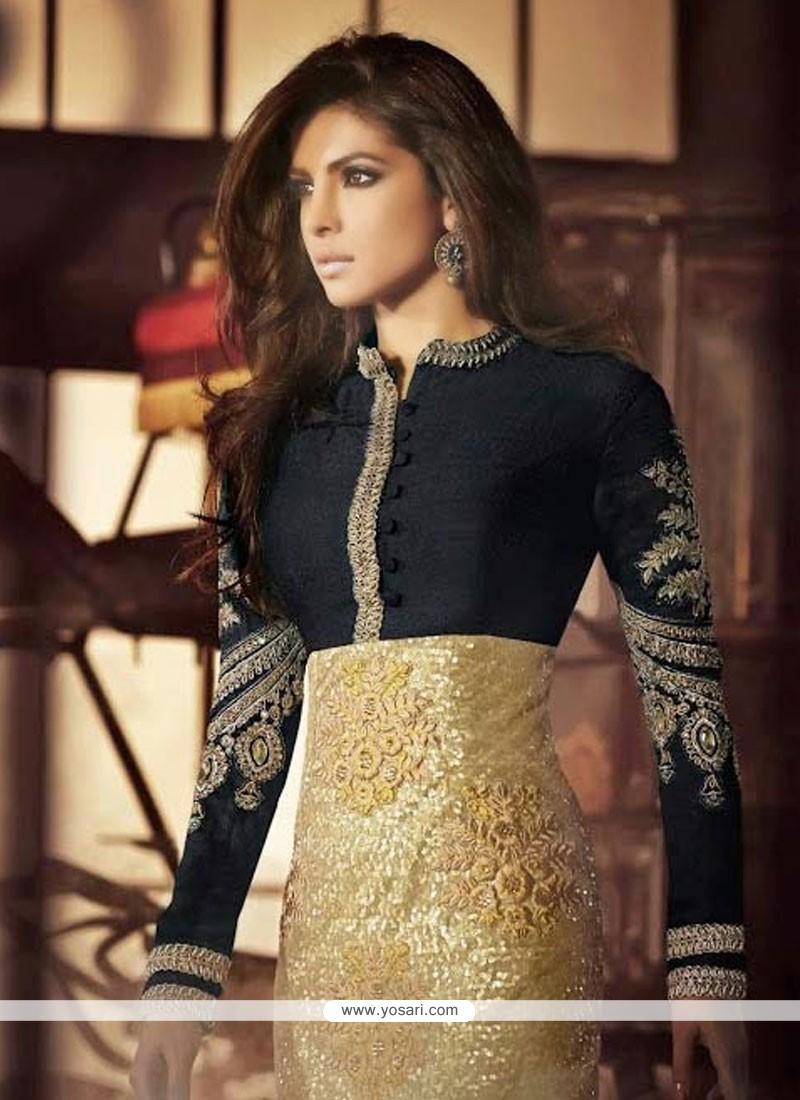Priyanka Chopra Black And Golden Net Silk Churidar Suit